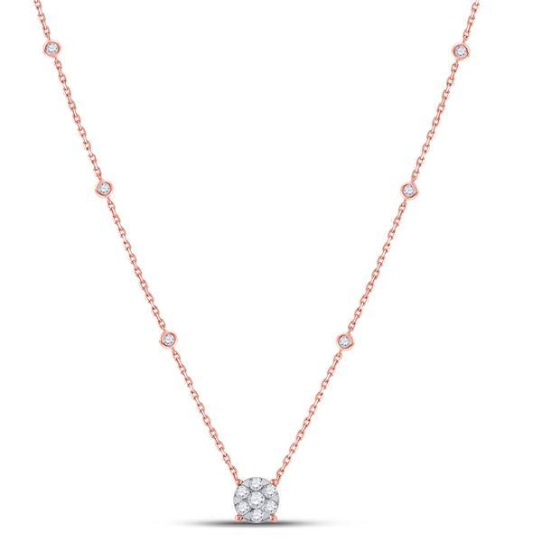 Diamond Flower Cluster Necklace 5/8 Cttw 14kt Rose Gold