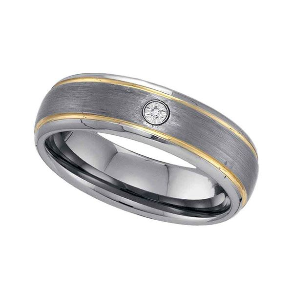 Two-tone Tungsten Carbide Mens Diamond Band Ring .01 Cttw Size 14 Two-tone Tungsten