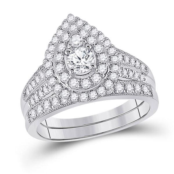 Diamond Pear Bridal Wedding Ring Band Set 1 Cttw 10kt White Gold