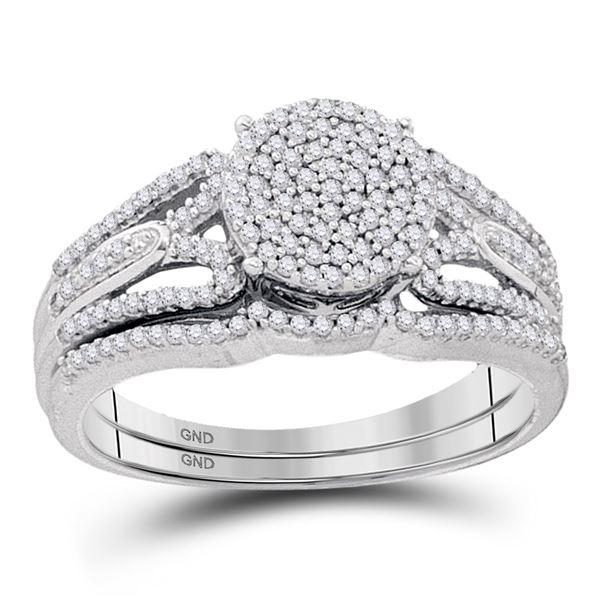 Diamond Bridal Wedding Ring Band Set 3/8 Cttw 10kt White Gold