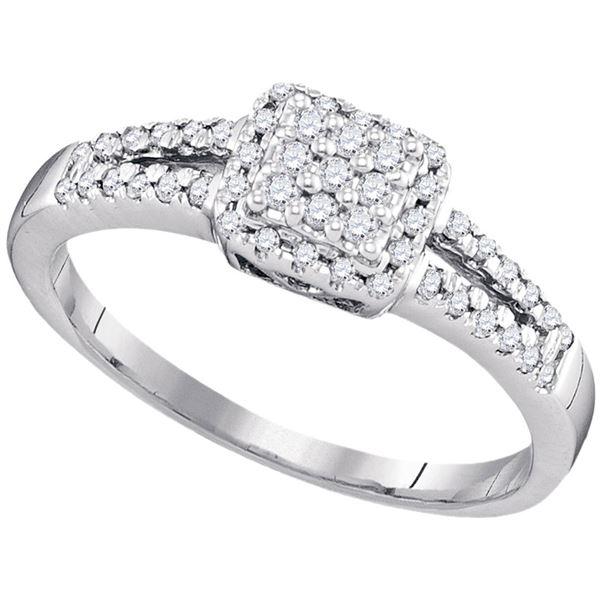 Diamond Square Cluster Ring 1/4 Cttw 10kt White Gold