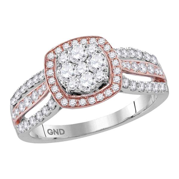 Diamond Square Bridal Wedding Engagement Ring 1 Cttw 14kt Two-tone Gold