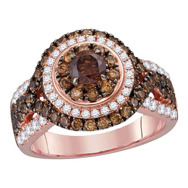 Brown Diamond Halo Bridal Wedding Engagement Ring 2 Cttw 14kt Rose Gold