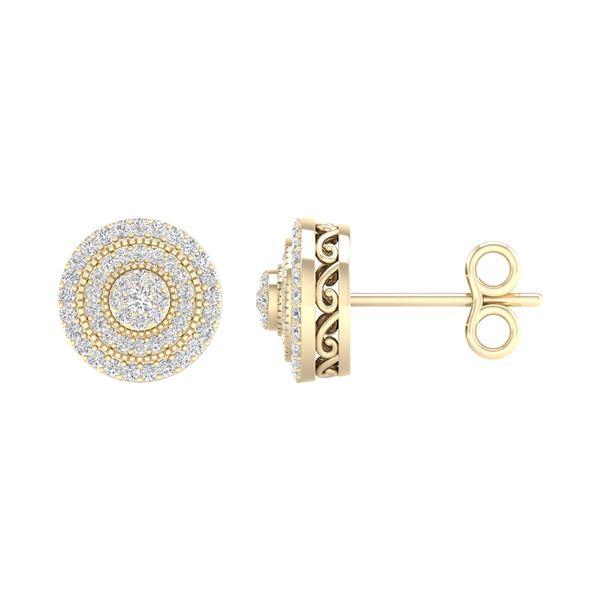 Diamond Cluster Earrings 1/2 Cttw 14kt Yellow Gold