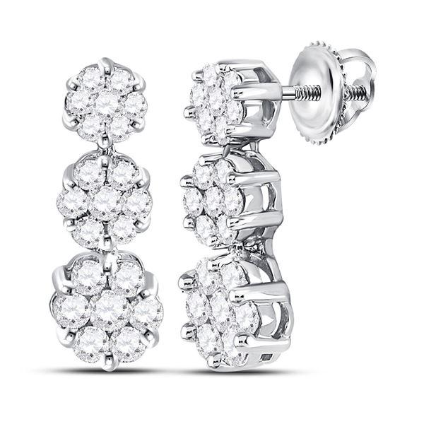 Diamond Triple Vertical Flower Cluster Earrings 1 Cttw 14kt White Gold