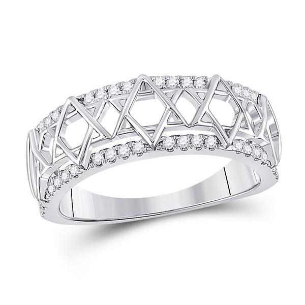 Diamond Magen David Star Ring 1/5 Cttw 10kt White Gold