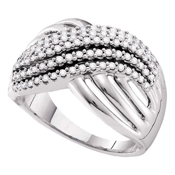 Diamond Crossover Strand Band Ring 1/2 Cttw 14kt White Gold