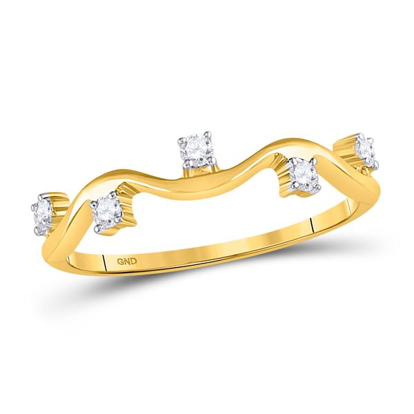 Diamond Wave Stackable Band Ring 1/8 Cttw 10kt Yellow Gold