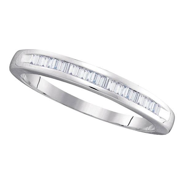 Baguette Diamond Wedding Anniversary Band 1/4 Cttw 10kt White Gold