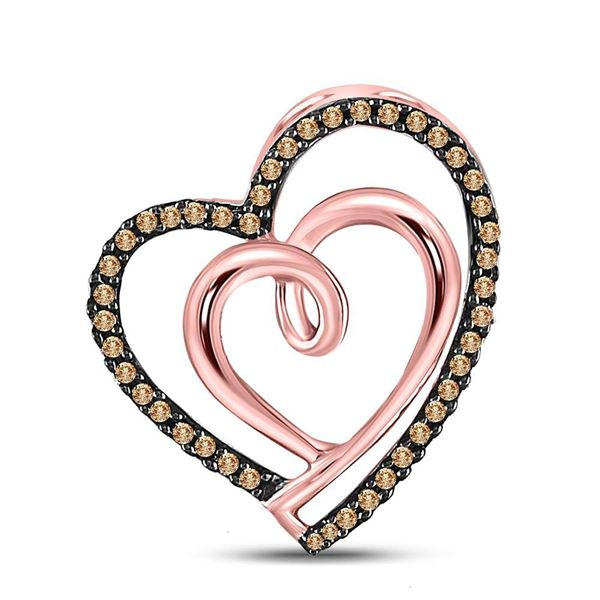 Brown Diamond Double Heart Pendant 1/6 Cttw 10kt Rose Gold