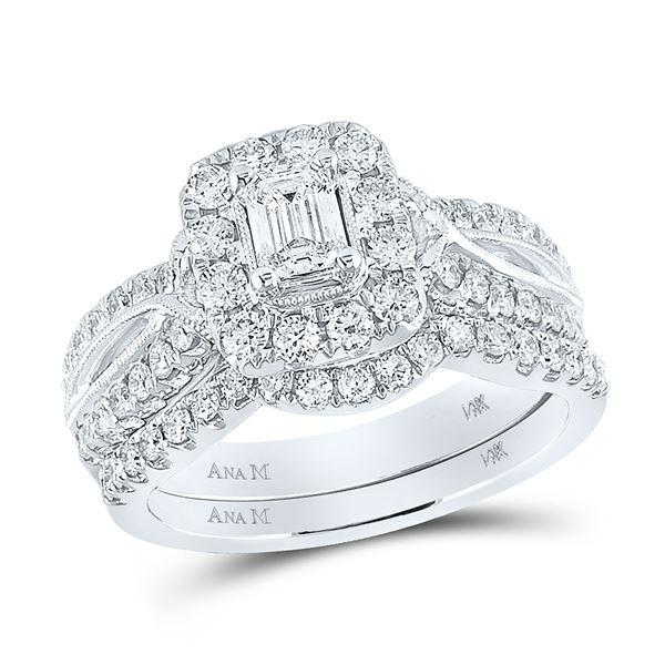 Emerald Diamond Bridal Wedding Ring Band Set 1-3/8 Cttw 14kt White Gold