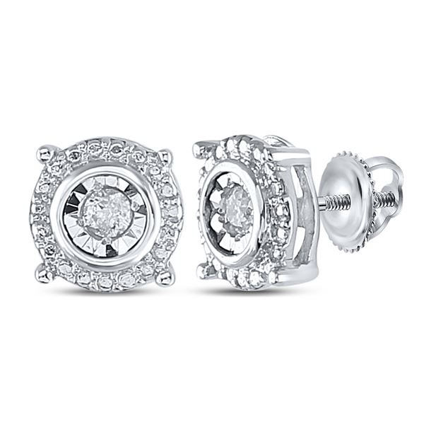 Diamond Stud Earrings 1/10 Cttw Sterling Silver