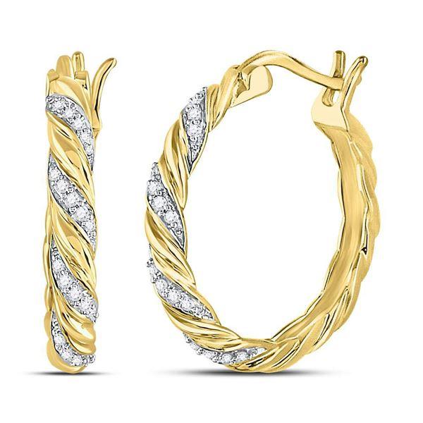 Diamond Spiral Stripe Hoop Earrings 1/10 Cttw 10kt Yellow Gold
