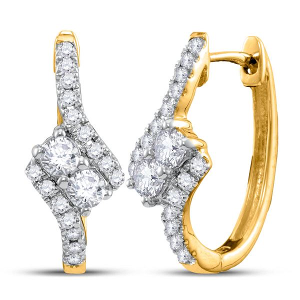 Diamond Bypass 2-stone Earrings 1/2 Cttw 14kt Yellow Gold