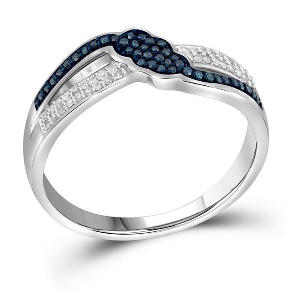Blue Color Enhanced Diamond Fashion Ring 1/5 Cttw 10kt White Gold