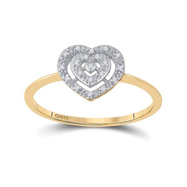 Diamond Slender Heart Cluster Ring 1/20 Cttw 10kt Yellow Gold