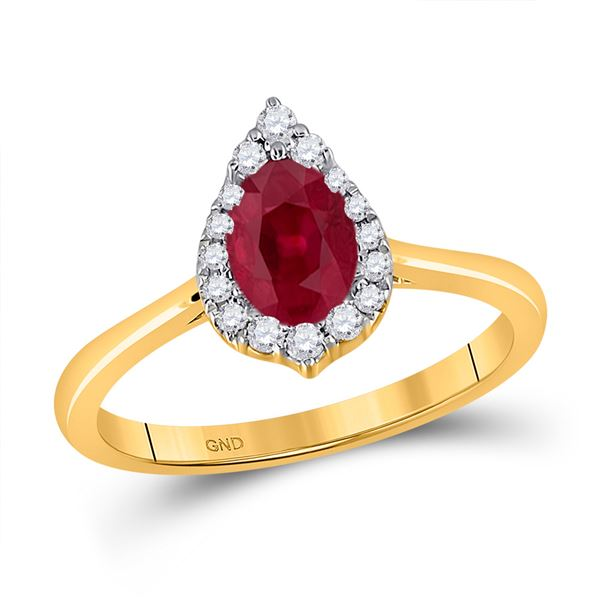 Pear Ruby Diamond Halo Fashion Ring 1 Cttw 14kt Yellow Gold