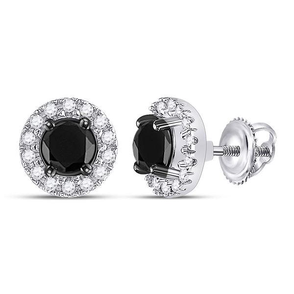 Black Color Enhanced Diamond Stud Earrings 1 Cttw 10kt White Gold