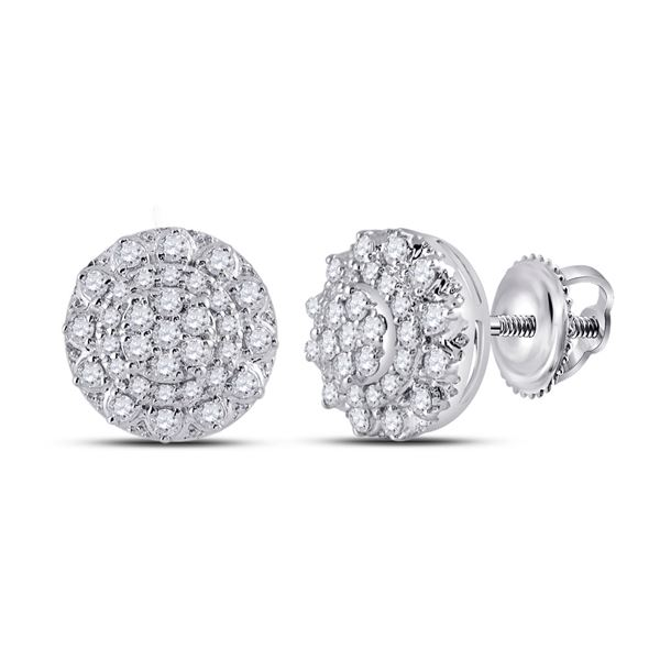 Diamond Cluster Earrings 1/2 Cttw 14kt White Gold