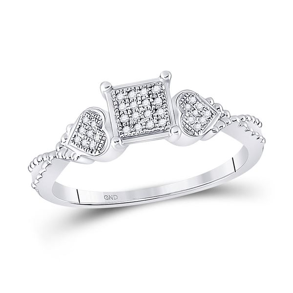 Diamond Heart Square Ring 1/10 Cttw Sterling Silver