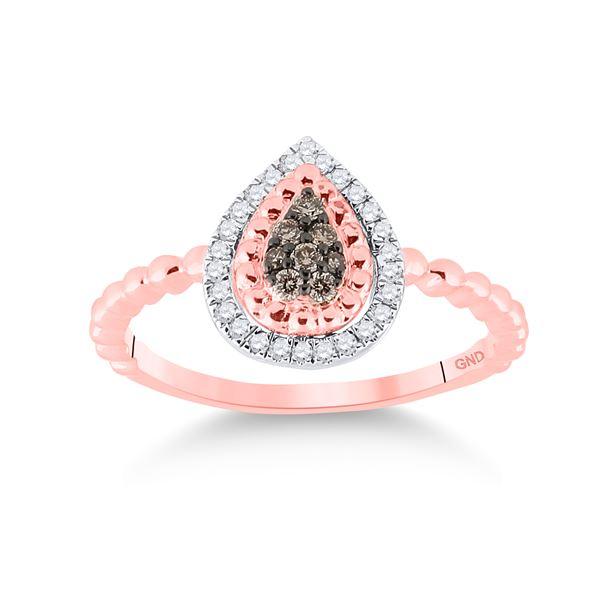 Brown Diamond Teardrop Ring 1/5 Cttw 10kt Rose Gold