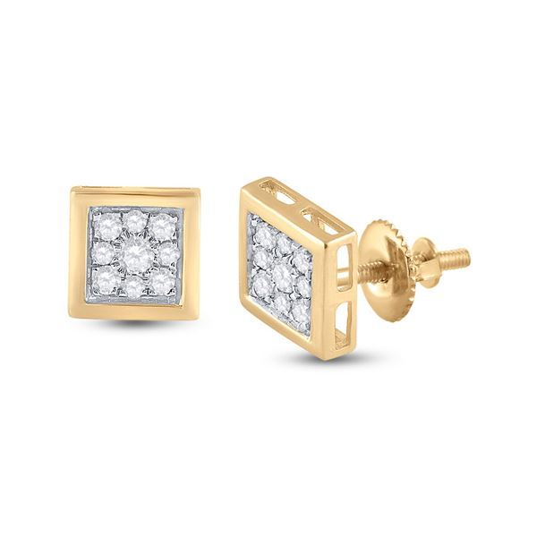 Mens Diamond Square Earrings 1/3 Cttw 14kt Yellow Gold