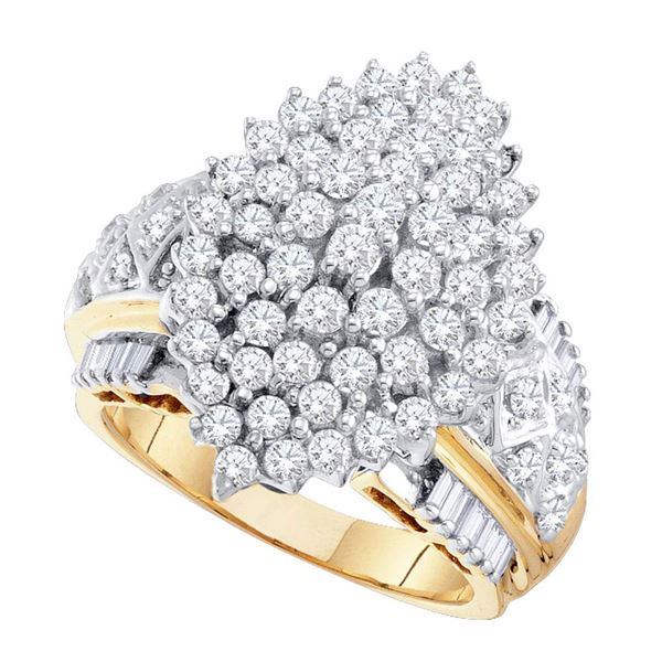 Diamond Marquise-shape Cluster Ring 2 Cttw 10kt Yellow Gold