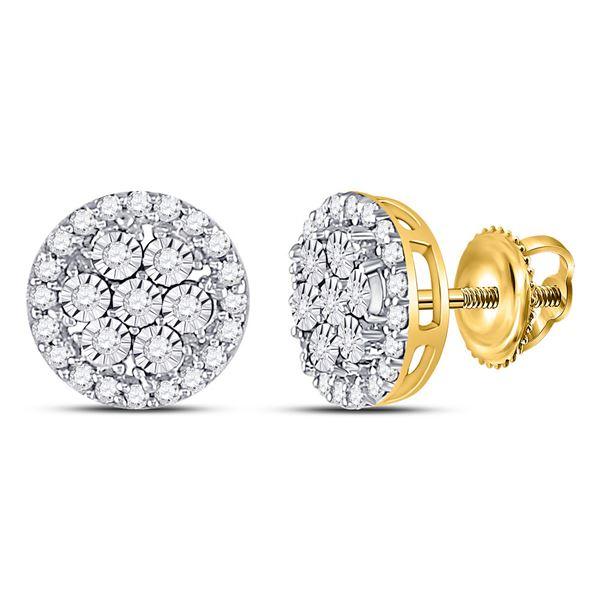 Diamond Flower Cluster Earrings 3/8 Cttw 10kt Yellow Gold