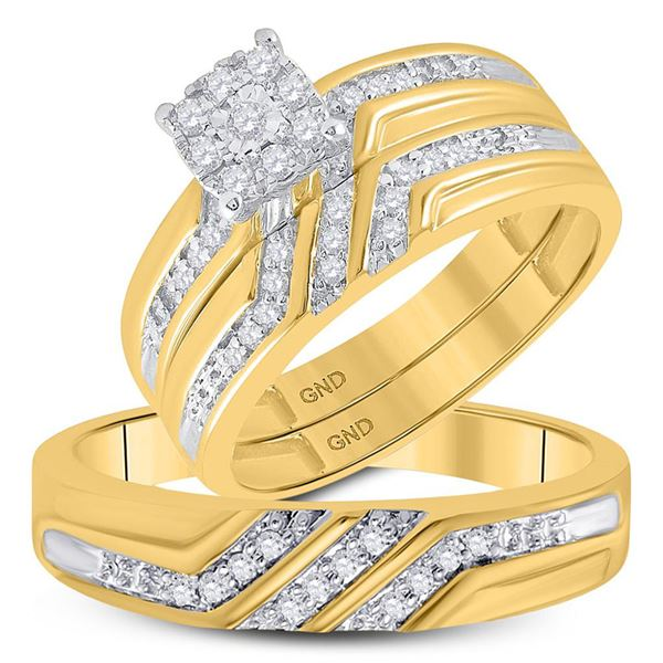 His Hers Diamond Solitaire Matching Wedding Set 1/3 Cttw 10kt Yellow Gold