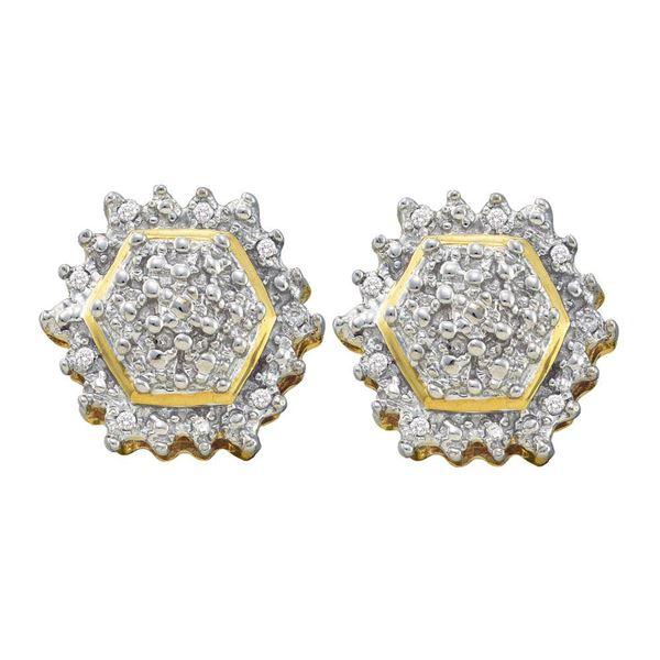 Diamond Hexagon Geometric Cluster Earrings 1/10 Cttw 10kt Yellow Gold