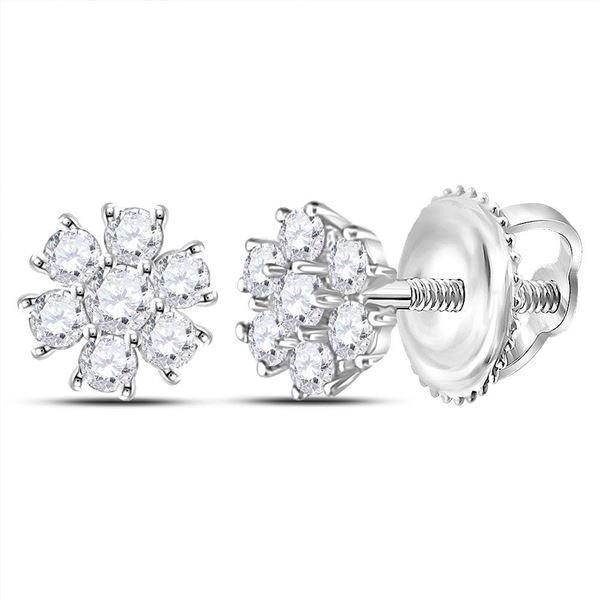 Diamond Flower Cluster Burst Earrings 1/8 Cttw 14kt White Gold