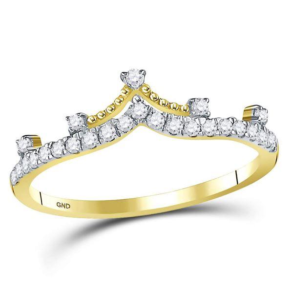 Diamond Crown Tiara Fashion Band Ring 1/5 Cttw 10kt Yellow Gold