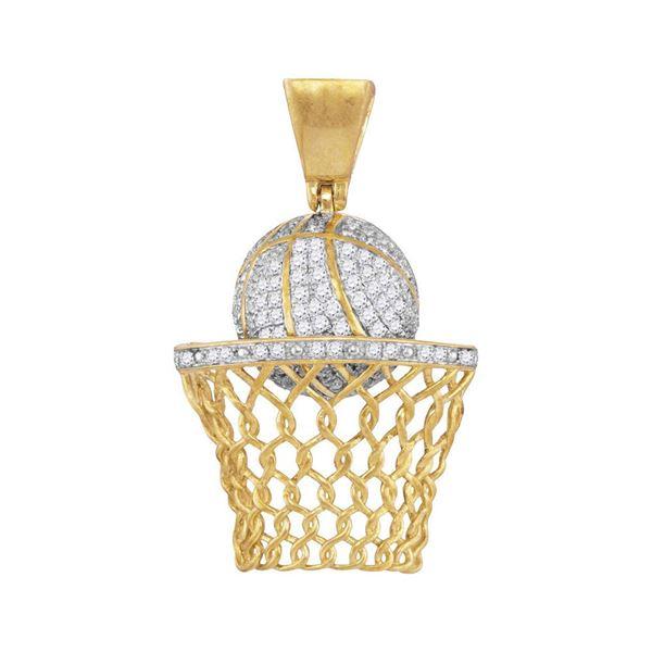 Mens Diamond Basketball Hoop Net Charm Pendant 3/4 Cttw 10kt Yellow Gold