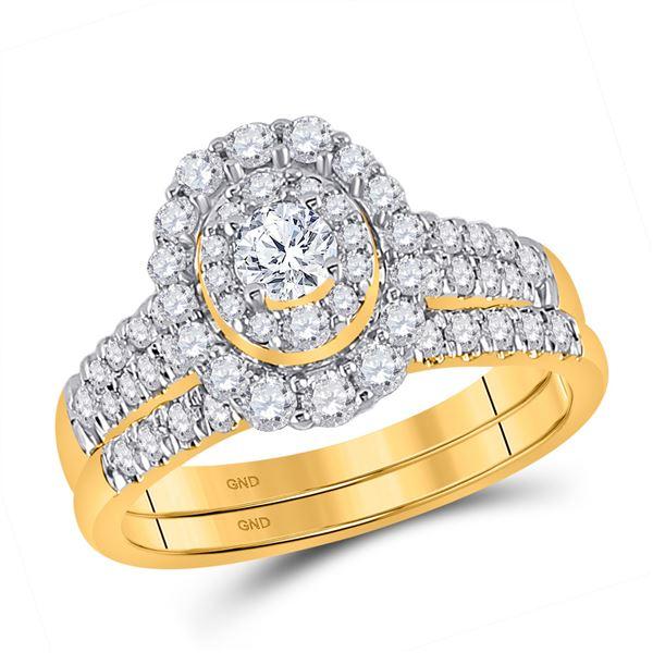 Diamond Bridal Wedding Ring Band Set 1 Cttw 10kt Yellow Gold