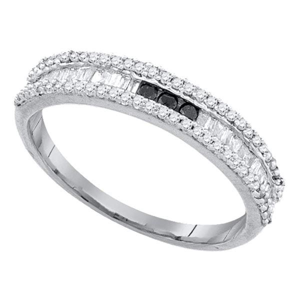 Black Color Enhanced Diamond Band Ring 3/8 Cttw 10kt White Gold