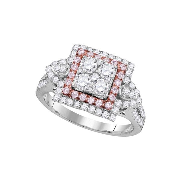 Pink Diamond Square Cluster Ring 1 Cttw 14kt White Gold
