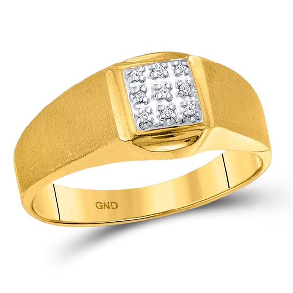 Mens Diamond Brushed Cluster Ring .03 Cttw 10kt Yellow Gold