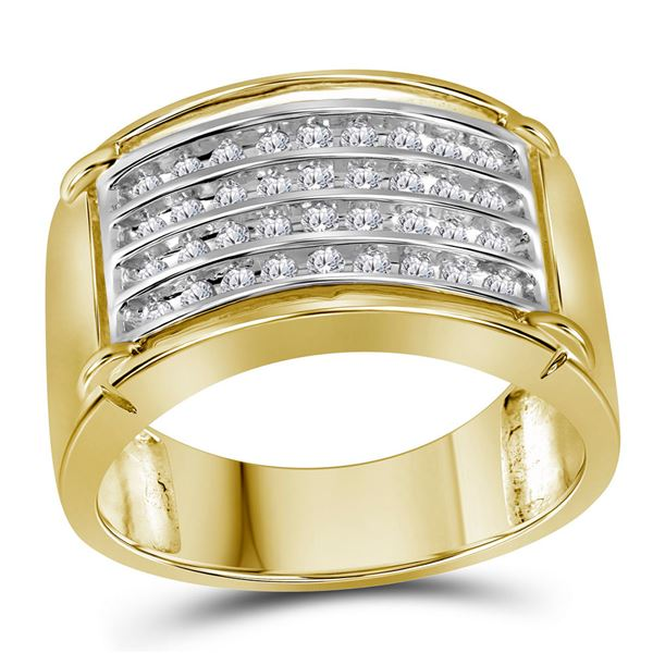 Mens Diamond Four Row Band Ring 1/2 Cttw 10kt Yellow Gold