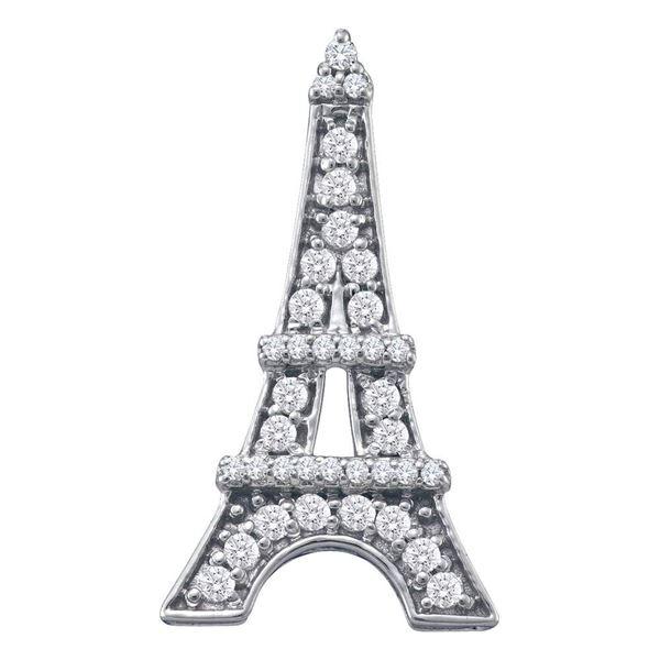 Diamond Eiffel Tower Fashion Pendant 1/3 Cttw 10kt White Gold