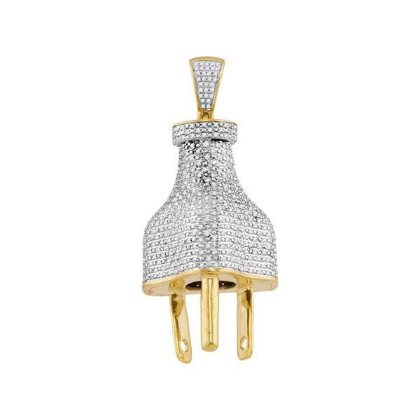 Mens Diamond Plug Charm Pendant 1 Cttw 10kt Yellow Gold