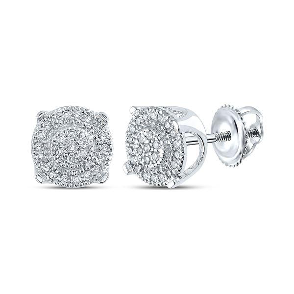 Diamond Fashion Cluster Earrings 1/8 Cttw 10kt White Gold