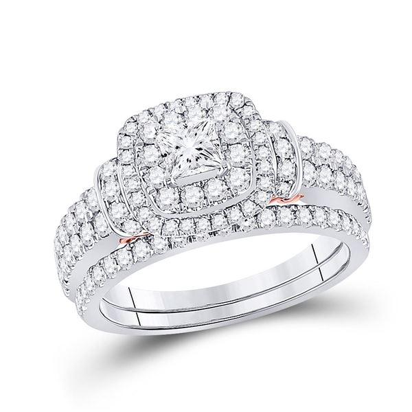 Diamond Bridal Wedding Ring Band Set 1-1/3 Cttw 14kt Two-tone Gold