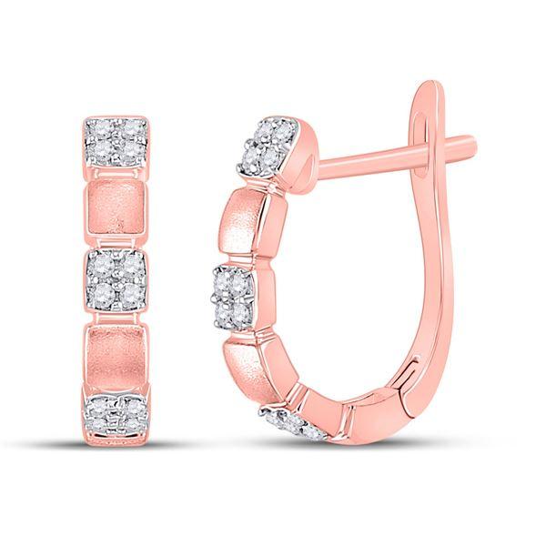 Diamond Hoop Earrings 1/10 Cttw 14kt Rose Gold