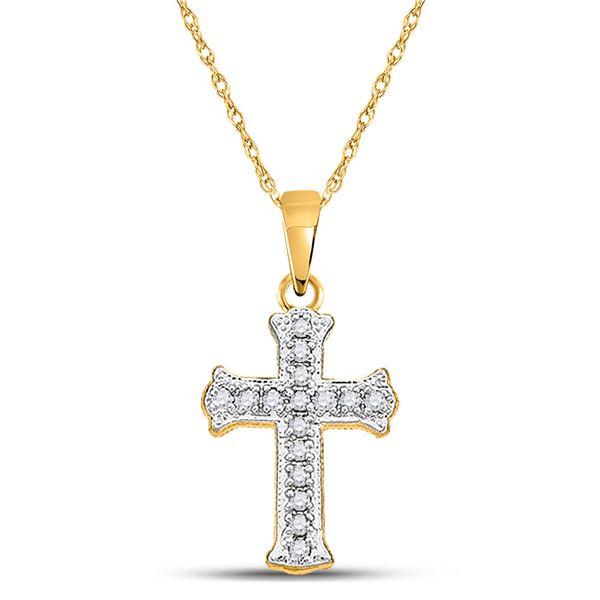 Diamond Cross Pendant 1/12 Cttw 10kt Yellow Gold