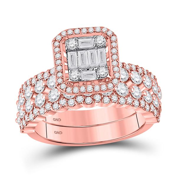 Baguette Diamond Bridal Wedding Ring Band Set 1-7/8 Cttw 14kt Rose Gold