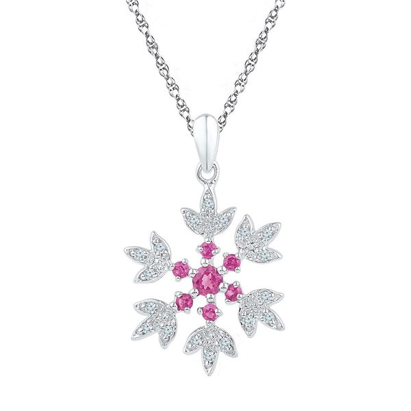Lab-Created Pink Sapphire Flower Pendant 1/2 Cttw Sterling Silver