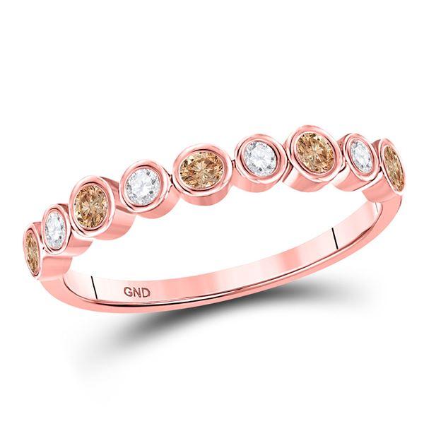 Brown Diamond Band Ring 1/3 Cttw 10kt Rose Gold