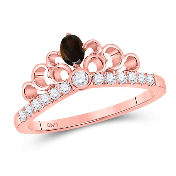 Oval Smoky Quartz Crown Fashion Ring 3/8 Cttw 10kt Rose Gold