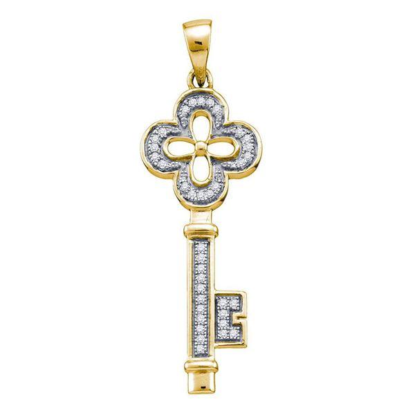 Diamond Key Love Pendant 1/8 Cttw Yellow-tone Sterling Silver