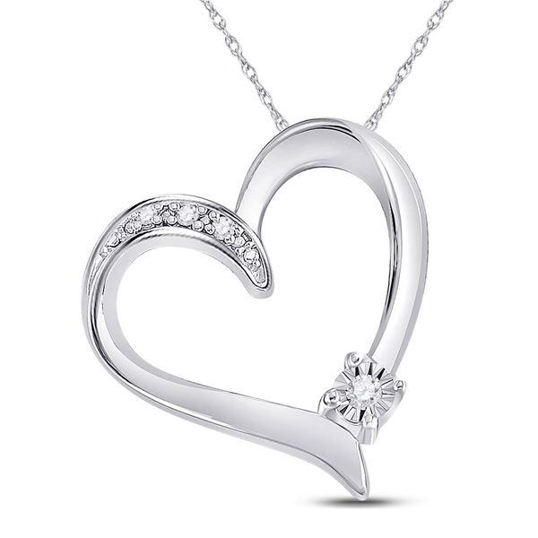 Diamond Solitaire Heart Pendant .03 Cttw Sterling Silver